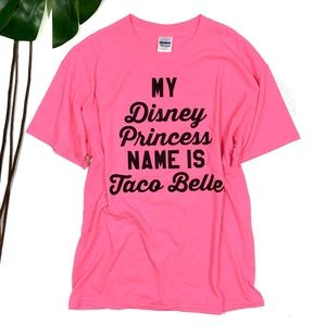 Taco Belle Disney Princess Neon Pink Shirt
